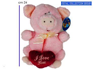A1 12527 2G MAIALE ROSA PIG SOFT C/CUORE cm24 95030041