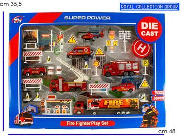 K085522 SET FIRE FIGHTER  DIE CAST  CM 48X35.5
