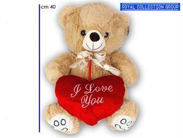 A1 17655 3B  ORSO PELUCHE BEIGE SOFT c/cuore  CM 40