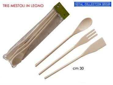 K181127 SET 3 MESTOLI IN LEGNO  CM 30